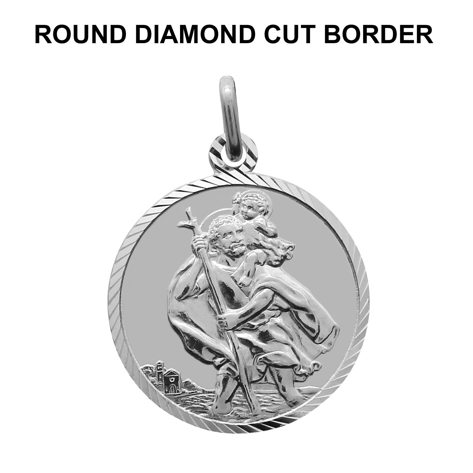 925 sterling silver st saint christopher pendant gift box choose height x width excluding bail aloadofball Images