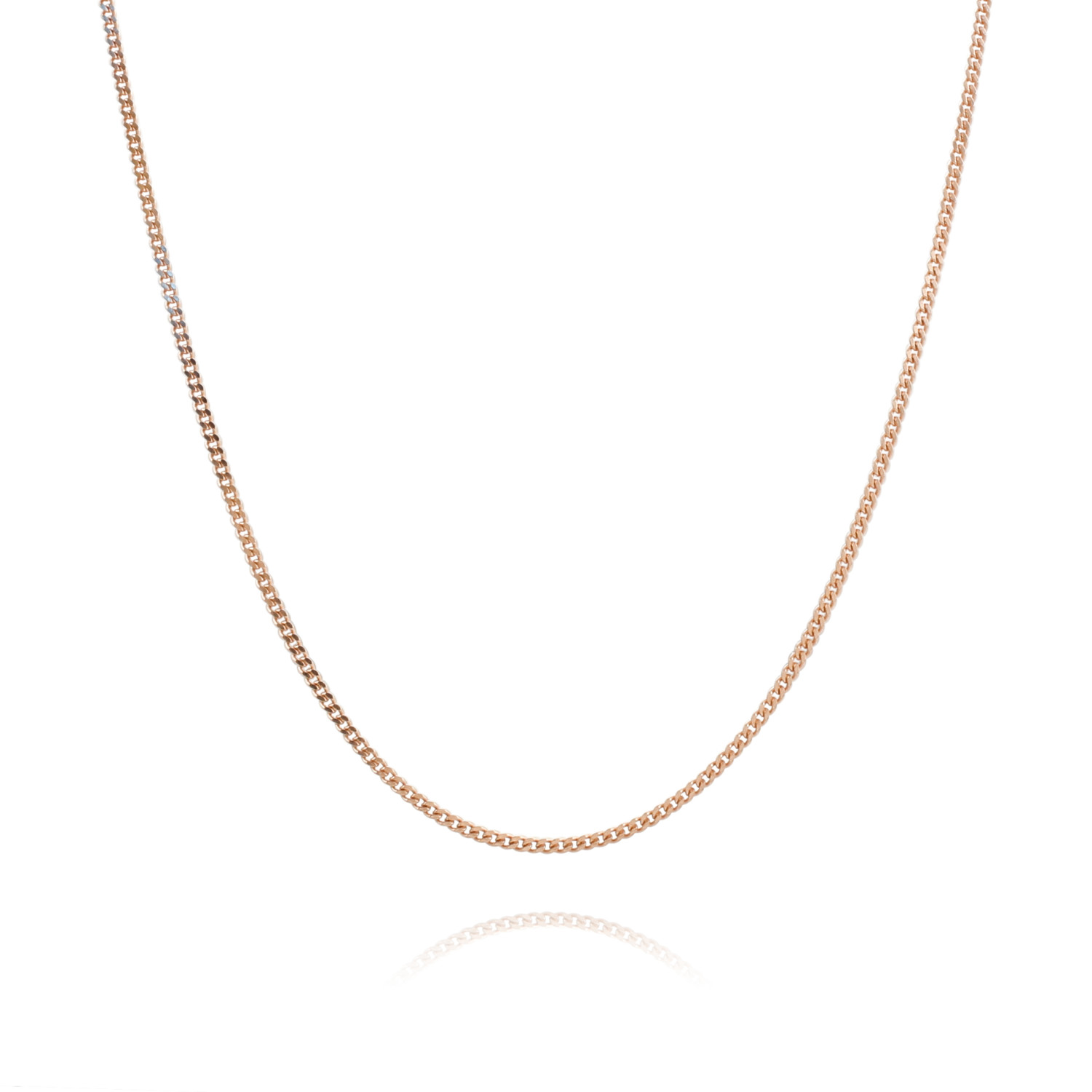 9ct Rose Gold Plated On Sterling Silver 1 2mm Curb Chain