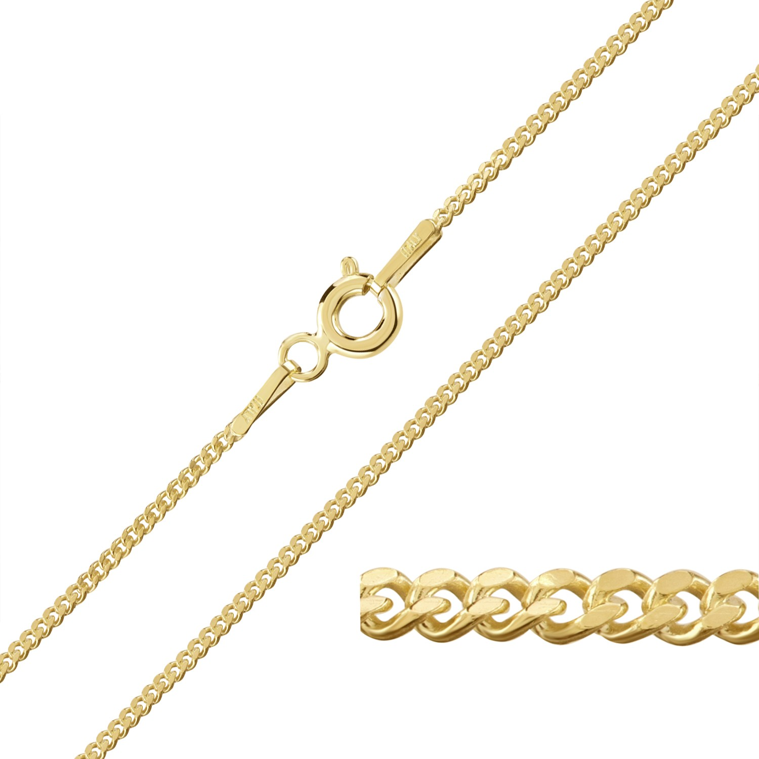 9ct Yellow Gold Plated On Sterling Silver 1 2mm Curb Chain